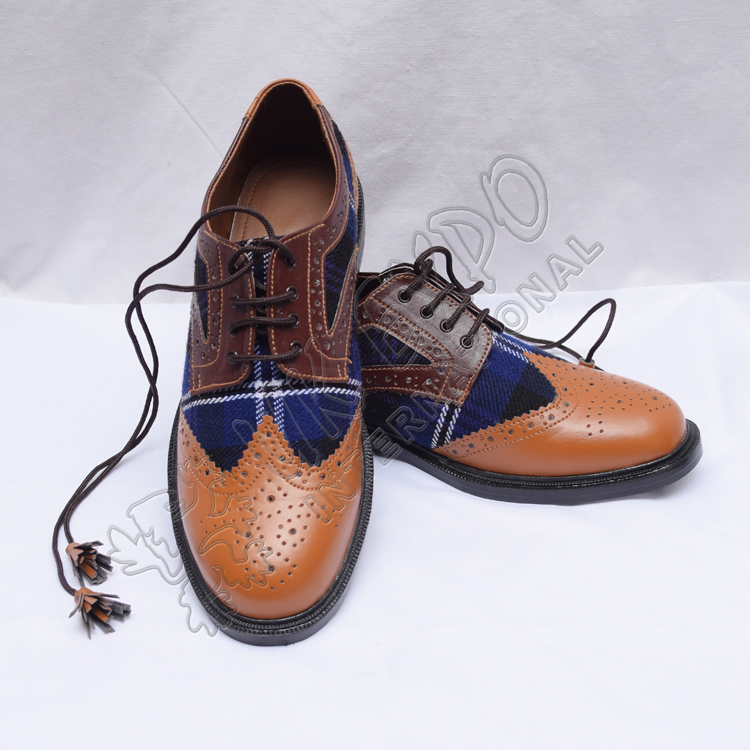 Hybrid Heritage Of Scotland Tartan Ghillie Brogues Shoes with Brown and Tan Color Leather