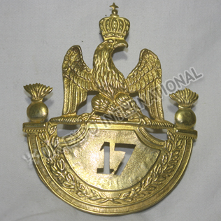 French Grenadier 1812 Shako Plate Brass 17th Regiment