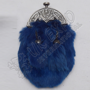Baby Antique Thistle Cantle and Blue Furr Sporran