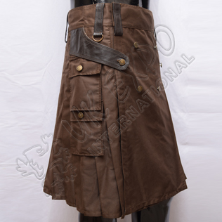 Battle Kilt Man utility kilt Brown with Leather and antique metal parts