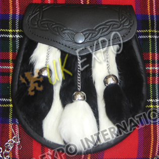 Black & White Rabbit Fur with Contras Tessels and Embossed on Flap