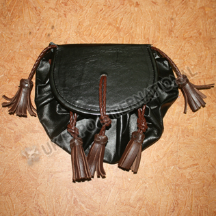Black and Brown Rob Roy Cow Hide Leather Sporran