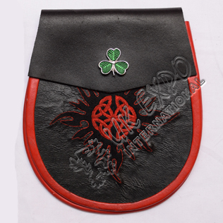 Black and Red Real leather Black Hand Embroidery Work With Shamrock