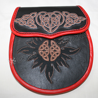 Black and Red Real leather With Brown Hand Embroidery Work