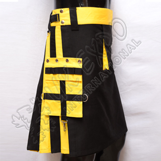 Black and Yellow Hybrid Two-Tone Utility Kilts