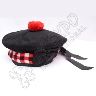 Black Balmoral Hat with Black white Black dicing and red pom pom