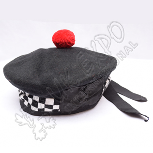 Black Balmoral Hat with white Black dicing and red pom