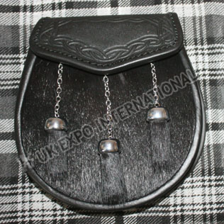 Black Calf Skin with Celtic Embossed on flap