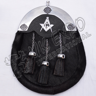 Black color Cow Skin Sporran with Masonic Badge