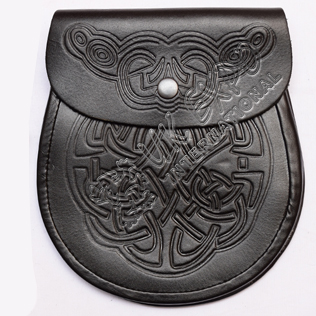 Black Color Leather Emboseed Sporran