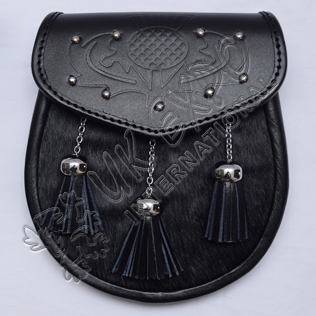 Black cow skin with Scottish Flower Embossed on Flap with studs