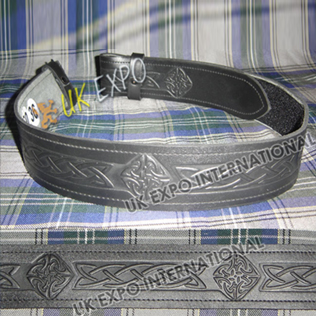 Black CowHide Leather new celtic Embossed Belt without Backing