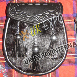 Black Fur with 3 Tessels Celtic Embossed on Flap