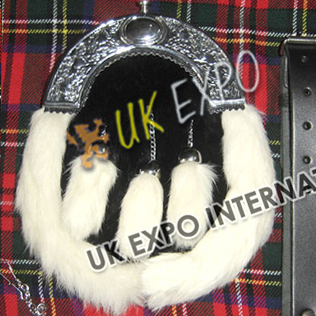 Black Fur with White Border Fur with Belt and Chain