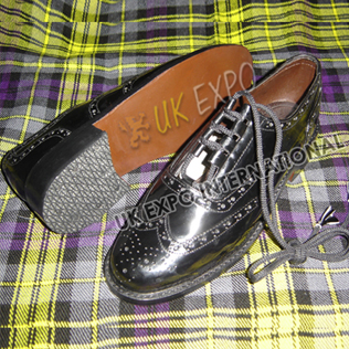 Black Ghillie Brogues PVC Shine Upper - Real Leather Sole
