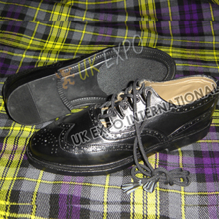 Black Ghillie Brogues Real Leather Upper - Rubber Sole