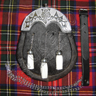 Black Goat Skin Sporrans with White goat tessels and black backing on scottish cantle
