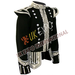 Black Hand Embroidery Doublet with Silver Braid and cord