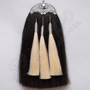 Black Horse hair With 3 white Tessels with Silver lace and cantle