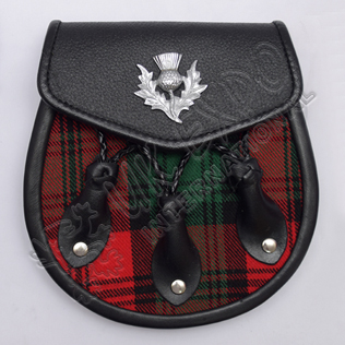 Black Leather Thistle Badge on Flap Three Leaves Clan Tartan Semi Dress Sporran