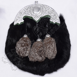 Black rabbit Furr with Multi Gray Color tessels Green Backing on Shamrock Cantle