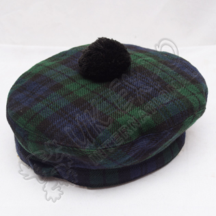 Black Watch Tartan Military Bonnet Hat with Black Pom Pom