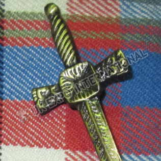 Brass Antique Cross Designs Kilt Pin