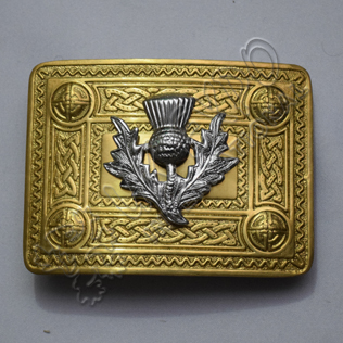 Brass Polish Celtic Design Buckle with Small Chrome thistle best for all kilts