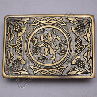 Bronze Celtic Rampart lion Scottish Buckle
