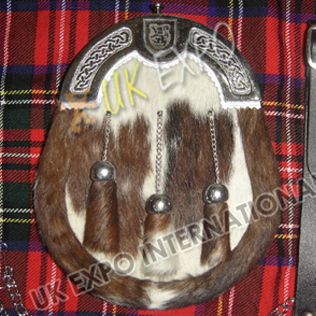 Brown and white cow hide skin with Rampart Lion Shield Metal Badge