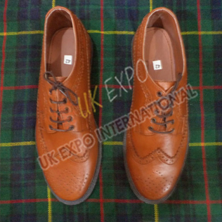 Brown Ghillie Brogues Real Leather Upper Shoes