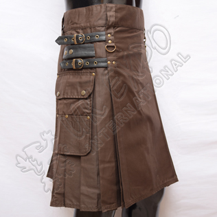 Brown Heavy Duty Utility Kilts with 4 Straps closing