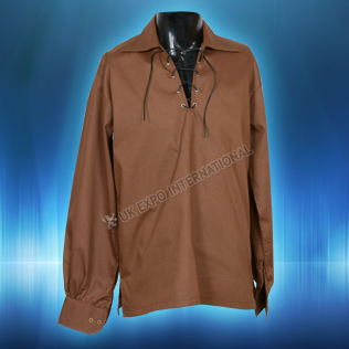 Brown Mens Scottish Highland Jacobite Shirts Jacobean Ghillie