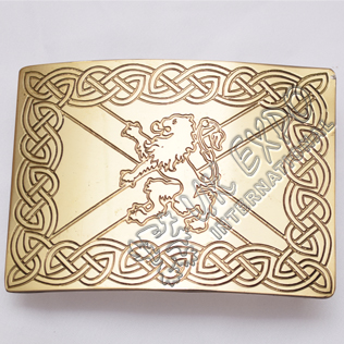 Celtic Brass Rampart lion Scottish Buckle