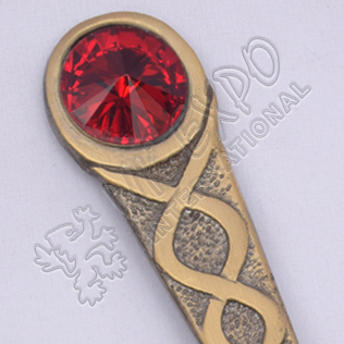 Celtic Design With Red Stone Brass Antique Kilt Pin