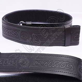Celtic Embossed Black Leather Kilt Belt Velcro Closing