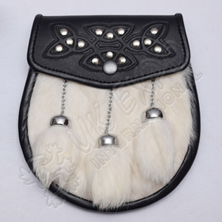 Celtic Embossed with Studs on Flap White Fur and Fur Tessels