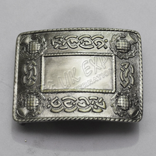 Celtic Scottish petal black antique kilt buckle