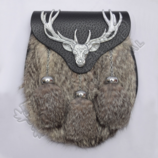 Chrome Plated Stag Semi Dress Multi Gray Fur With Black Leather Sporran