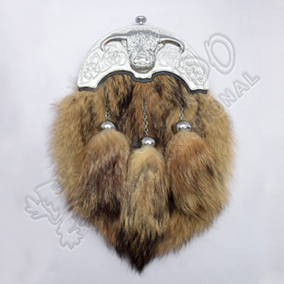 Coo Ox Chrome Cantle With Brown Fox Fur Full Dress Sporran