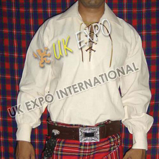 Natural Muslin fabric Cream Color Mens Scottish Jacobite Shirts