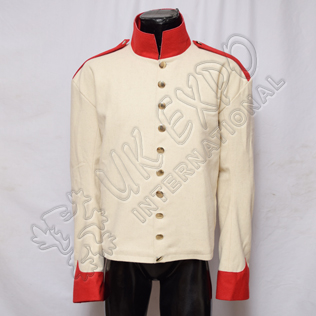 Cream Color Coat with Red Collar Cuff