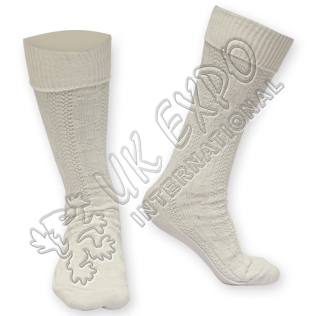 Cream Color Pipeband Hose Kilt Socks