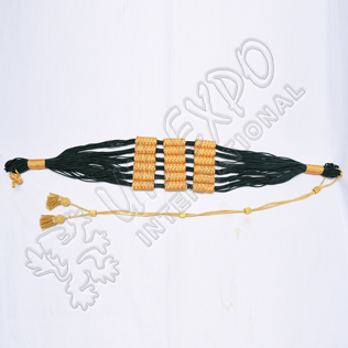 Dark Green and Golden color cotton Russian braid barrel sash