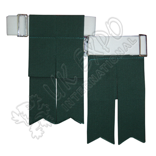 Dark Green Color Garter Flashes With Adjustable Buckle