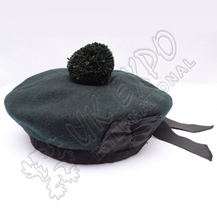 Dark Green Balmoral Plain Hat With Green Pom Pom