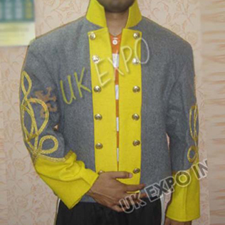 Double breast shell jacket Gray with Yellow 3 Row gold braid