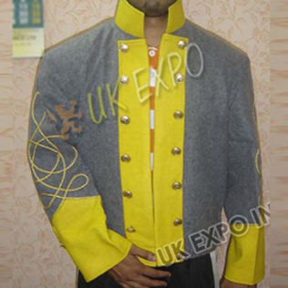 Double breast shell jacket Gray with Yellow single Row gold braid