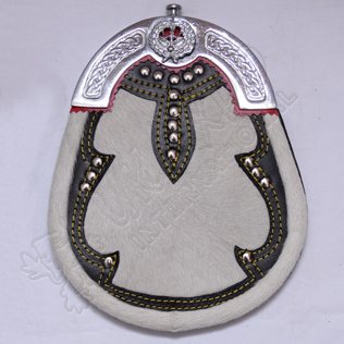 Drummer badge on Cantle top ,White Goat Sking , Black leather , Studs