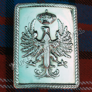 Eagle brass badge with cross in centre